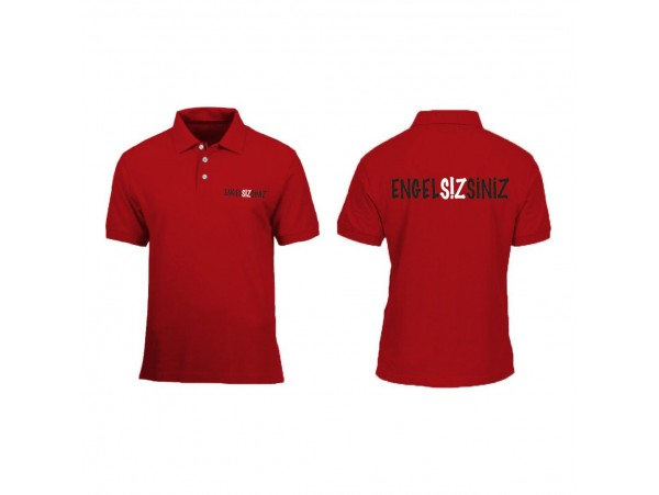 """Bay için """"Engelsizsiniz"""" Polo Tişört """"Kırmızı"""""""