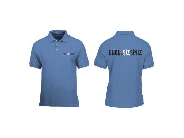 """Bayan için """"Engelsizsiniz"""" Polo Tişört """"Mavi"""""""